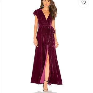 Tularosa Burgundy Velvet Wrap Dress